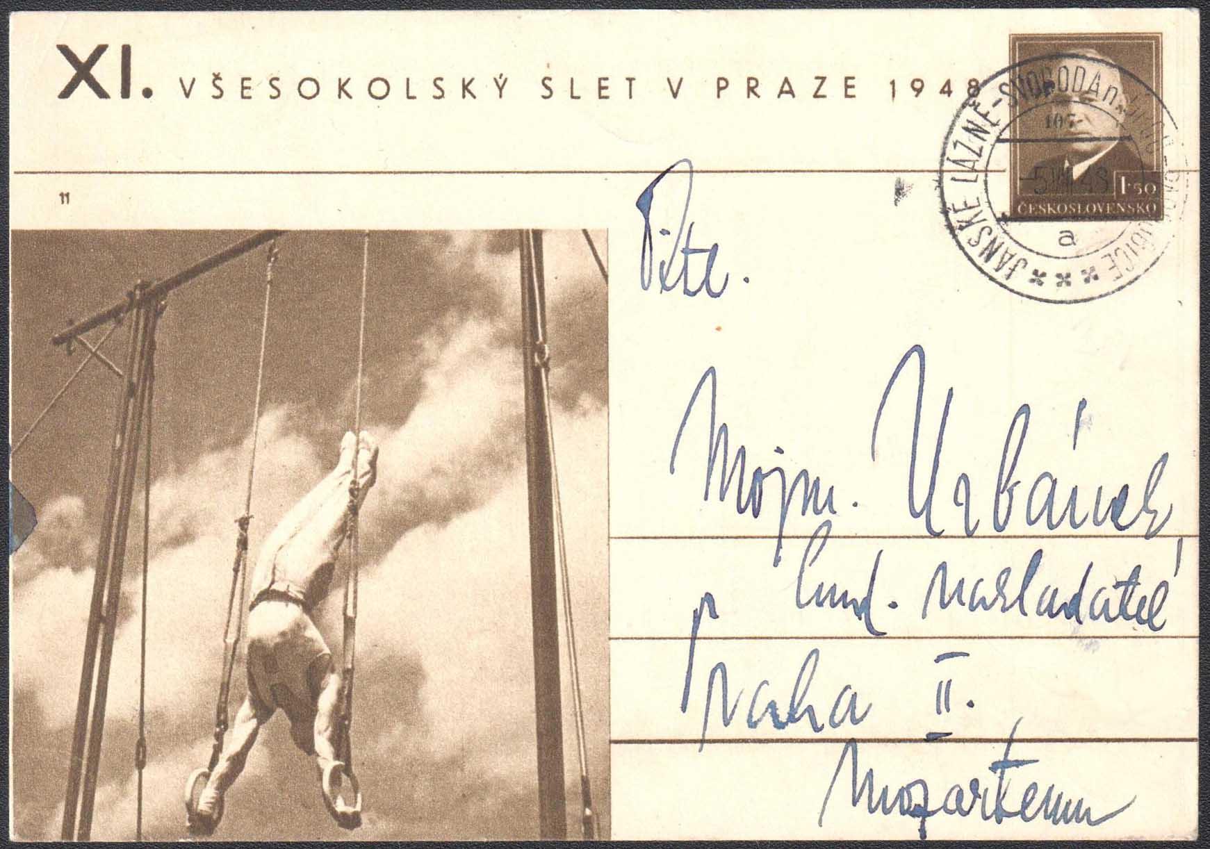 ÈESKOSLOVENSKO 1948 - XI. VŠESOKOLSKÝ SLET V PRAZE 1948 (CDV 90 è. 11 - Cvièenie na kruhoch)8