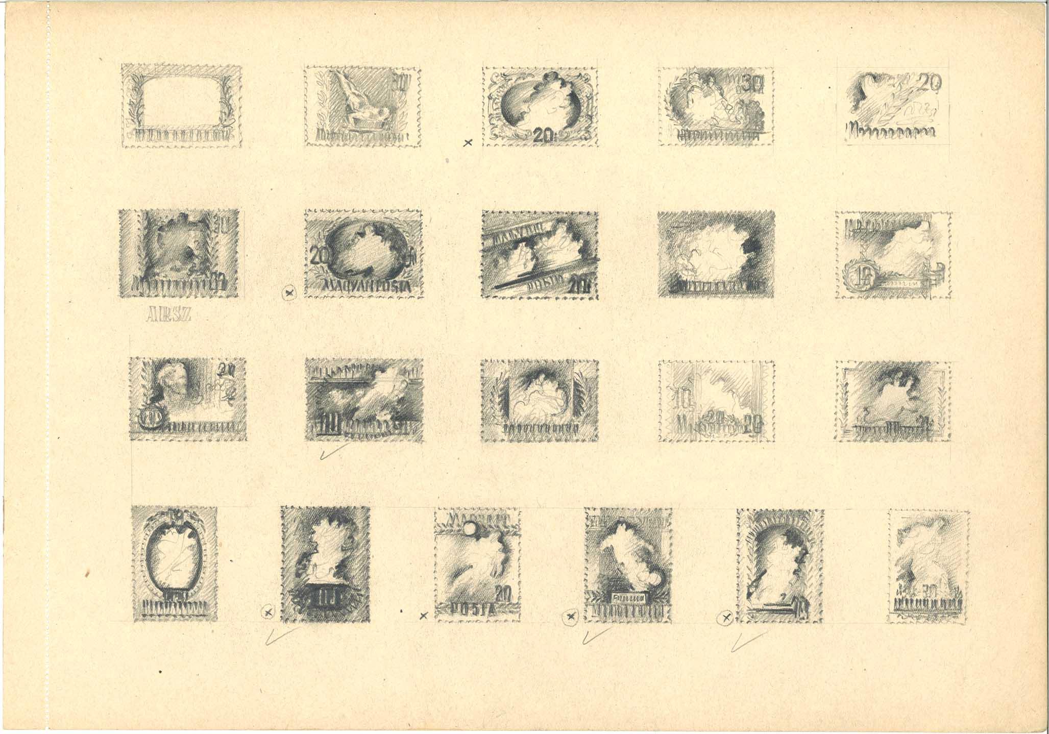 MAÏARSKO 1950 - Ideové návrhy maïarských športových známok