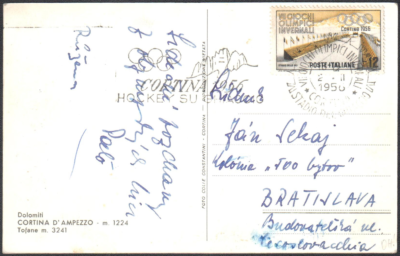 TALIANSKO 1956 - Zimné olympijské hry CORTINA D´AMPEZZO 1956 (¾adový hokej)