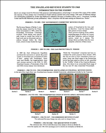 Filatelistick� expon�t The Swaziland Revenue Stamps to 1968