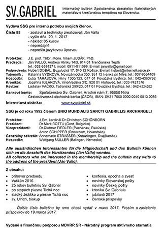 Informačný bulletin Spoločenstva zberateľov filatelistických materiálov skresťanskou tematikou na Slovensku Svätý Gabriel 2017/1 (88)