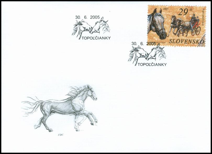 Obálka prvého dňa (FDC) Ochrana prírody: Kone - Lipicanský kôň