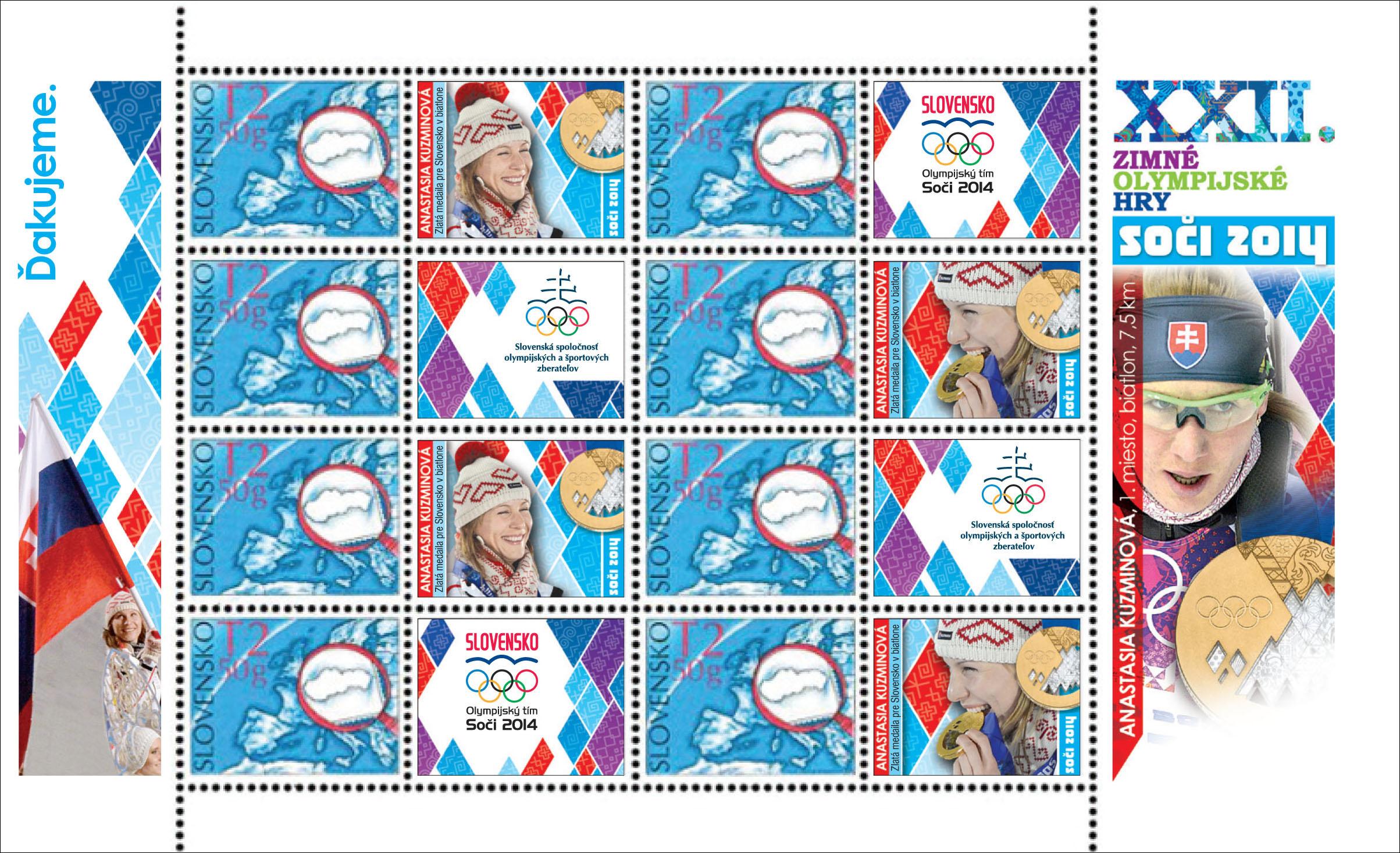 Personalizovaný upravený tlačový list (UTL) Anastasia Kuzminová - zlatá medaila ZOH Soči 2014 (Upravený tlačový list)
