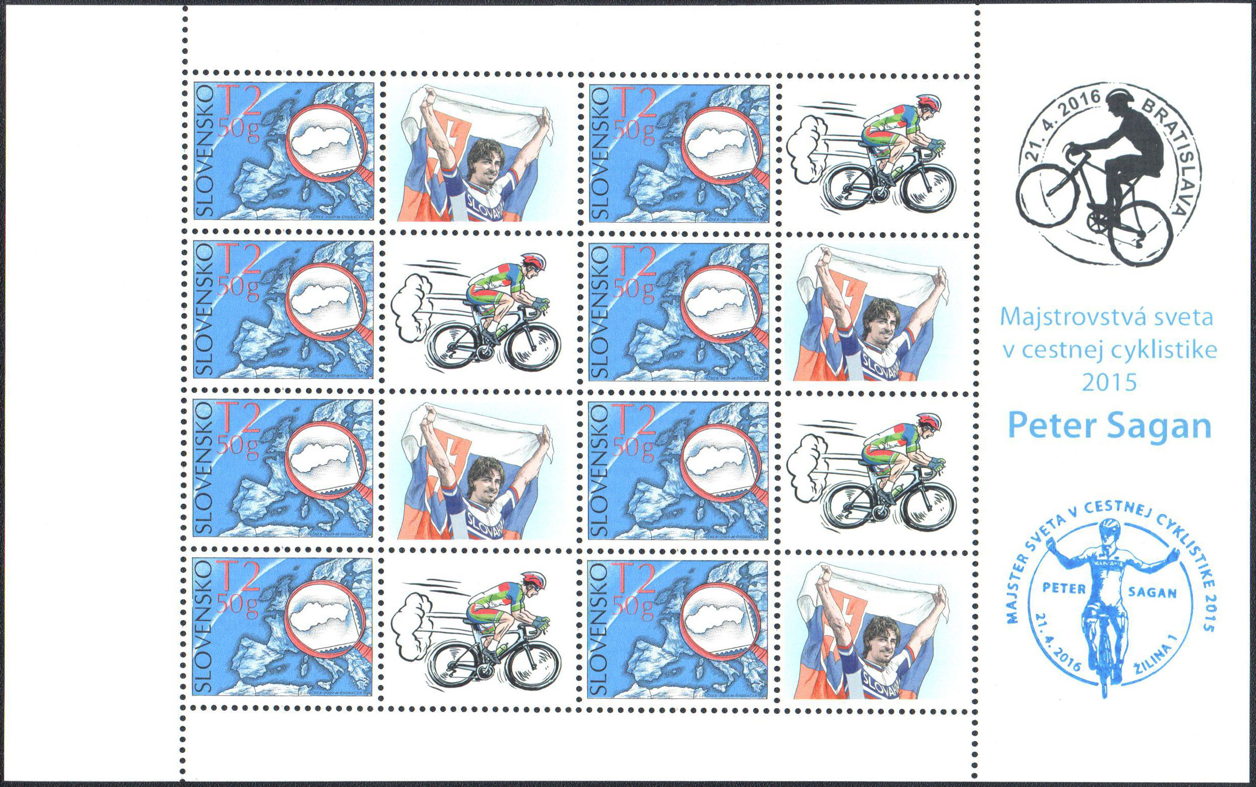 Personalised adjusted printing sheet: 2015 UCI Road World Championships - Peter Sagan with the commemorative postmark Introduction of postage stamp 2015 UCI Road World Championships - Peter Sagan