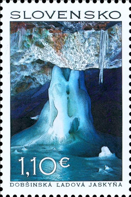 Poštová známka Krásy našej vlasti: Dobšinská ľadová jaskyňa