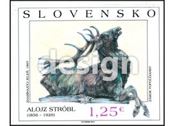 Postage Stamp Art: Alojz Strobl (1856 – 1926) - Dying Deer (Original artwork(s))