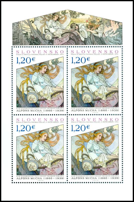 Poštová známka Umenie: Alfonz Mucha – Buď pozdravený požehnaný prameň zdravia