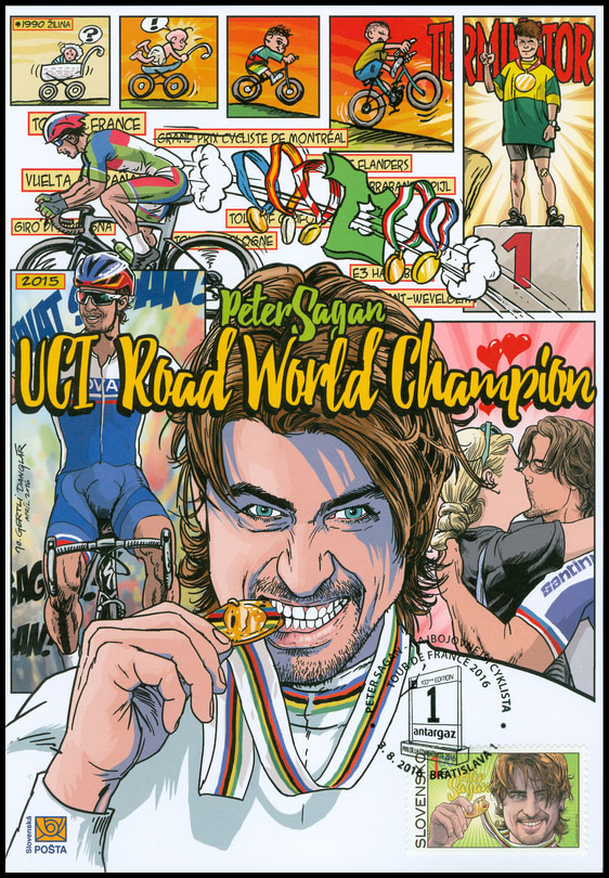 Commemorative Sheet to the postage stamp: 2015 UCI Road World Championships - Peter Sagan - Peter Sagan with the commemorative postmark Peter Sagan - the most combative cyclist of the Tour de France 2016