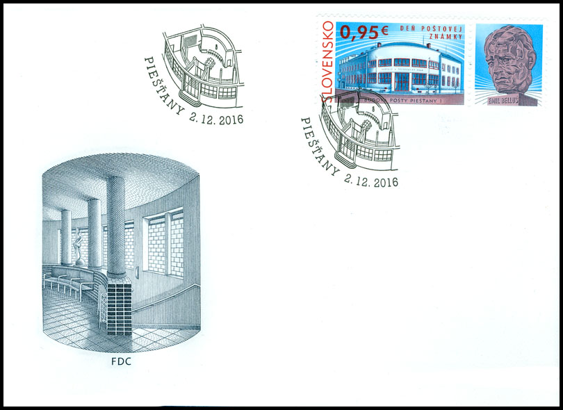 First Days Cover (FDC) to the postage stamp: Day of postage stamp: Post Office Building Piešťany 1