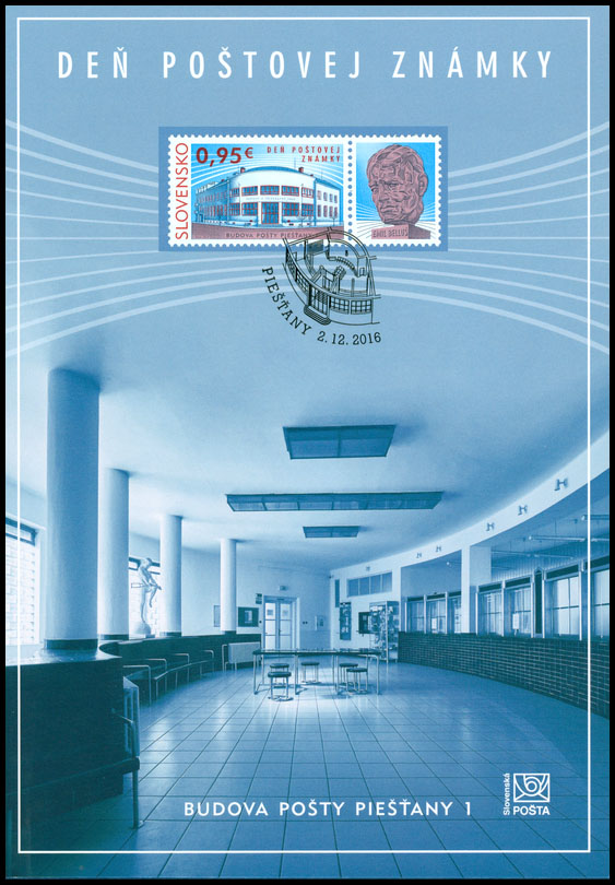 Collection Sheet to the postage stamp: Day of postage stamp: Post Office Building Piešťany 1