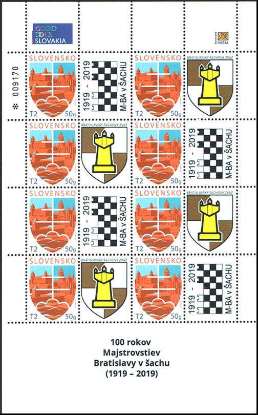 Personalised adjusted printing sheet (PersUTL) 100th anniversary of the Bratislava Chess Championship (1919 - 2019) (Adjusted printing sheet)