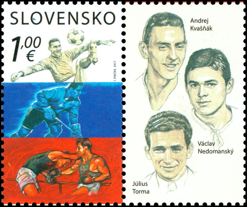 Poštová známka Šport: A. Kvašòák, V. Nedomanský, J. Torma