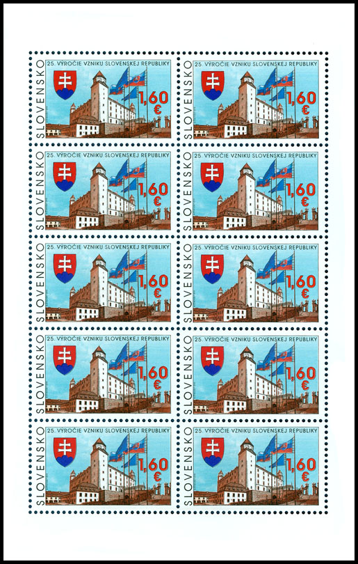 Postage Stamp 25th anniversary of the founding of the Slovak Republic (Adjusted printing sheet)