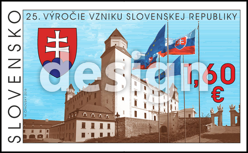 Postage Stamp 25th anniversary of the founding of the Slovak Republic (Original artwork(s))