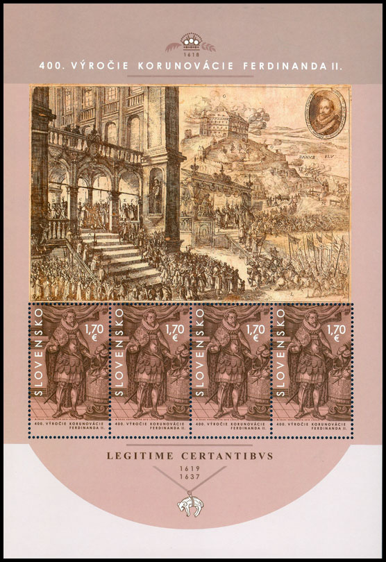 Postage Stamp Bratislava Coronations - 400th Anniversary of the Coronation of Ferdinand II. (Souvenir sheet format)