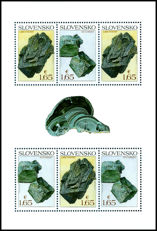 Postage Stamp Nature protection: Slovak minerals - Euchroite (Adjusted printing sheet)