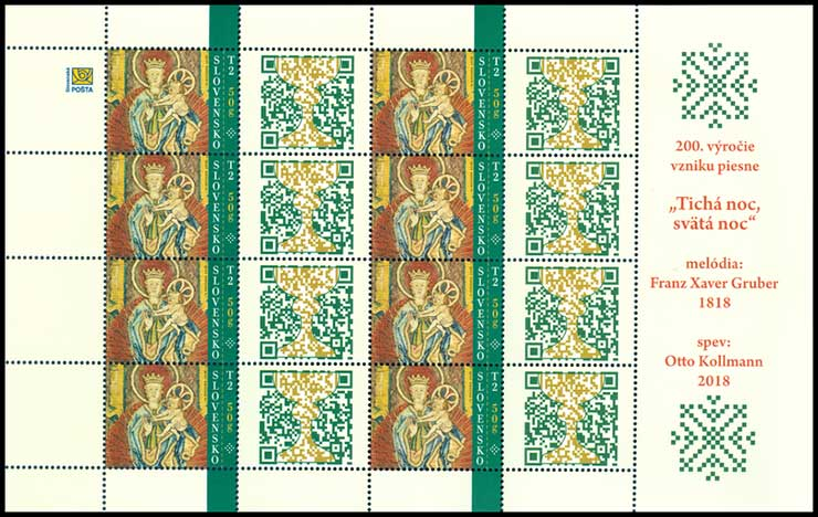 Postage Stamp Christmas 2018: Paramentos - liturgical textiles (with a personalized coupon) (Adjusted printing sheet)