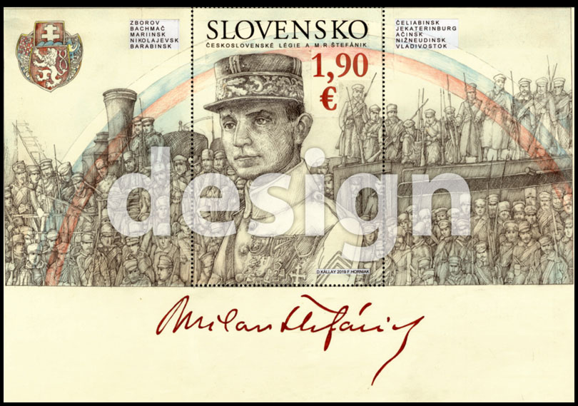 Postage Stamp Czechoslovak Legions and Milan Rastislav Štefánik (Original artwork)