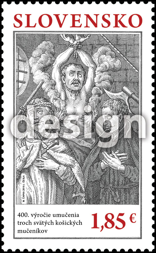 Postage Stamp 400th anniversary of the martyrdom of three holy martyrs of Kosice (Original artwork)