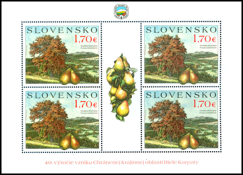 Postage Stamp Nature protection: Fruit trees - pear (Adjusted printing sheet)