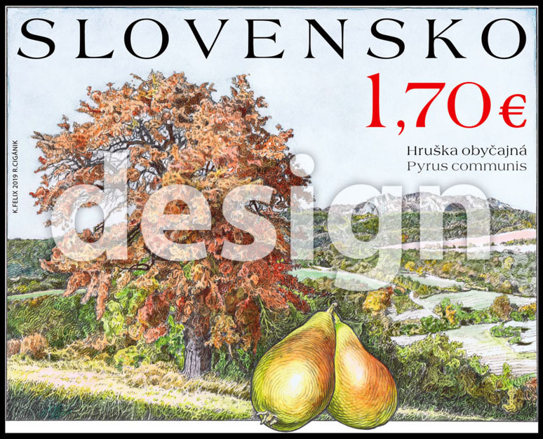 Postage Stamp Nature protection: Fruit trees - pear (Original artwork)
