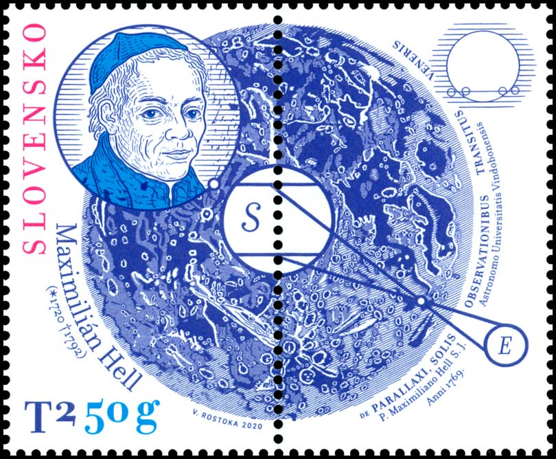 Postage Stamp Personalities: Maximilian Hell (1720 – 1792) - 300th birth anniversary (Postage stamp with coupon)