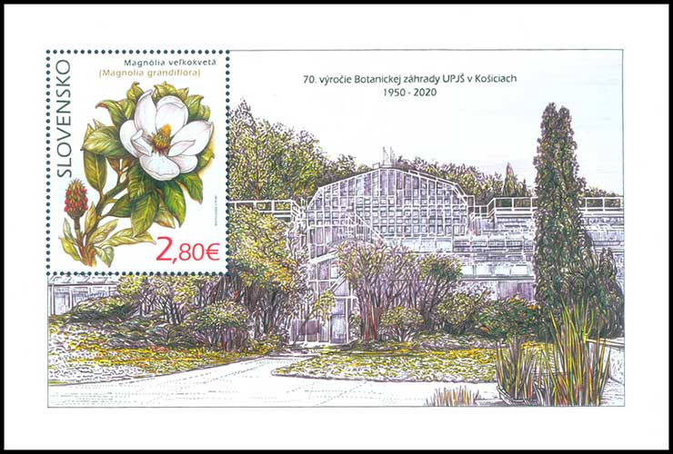 Postage Stamp Nature protection: Botanical Garden UPJS in Kosice - Magnolia grandiflora (Souvenir sheet format)