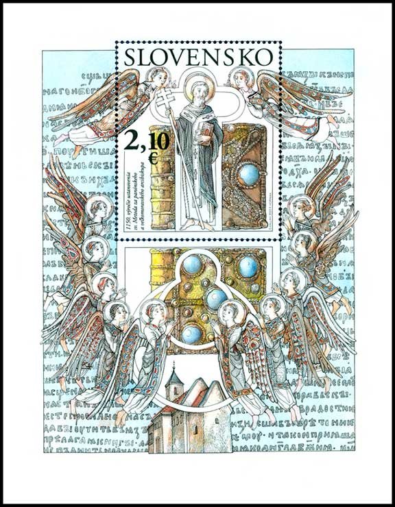 Postage Stamp 1150th anniversary of the establishment of St. Method for Pannonian and Great Moravian archbishop (Souvenir sheet format)
