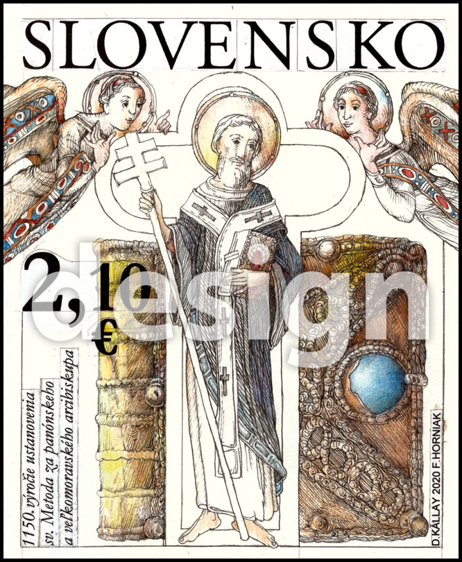 Postage Stamp 1150th anniversary of the establishment of St. Method for Pannonian and Great Moravian archbishop (Original artwork(s))