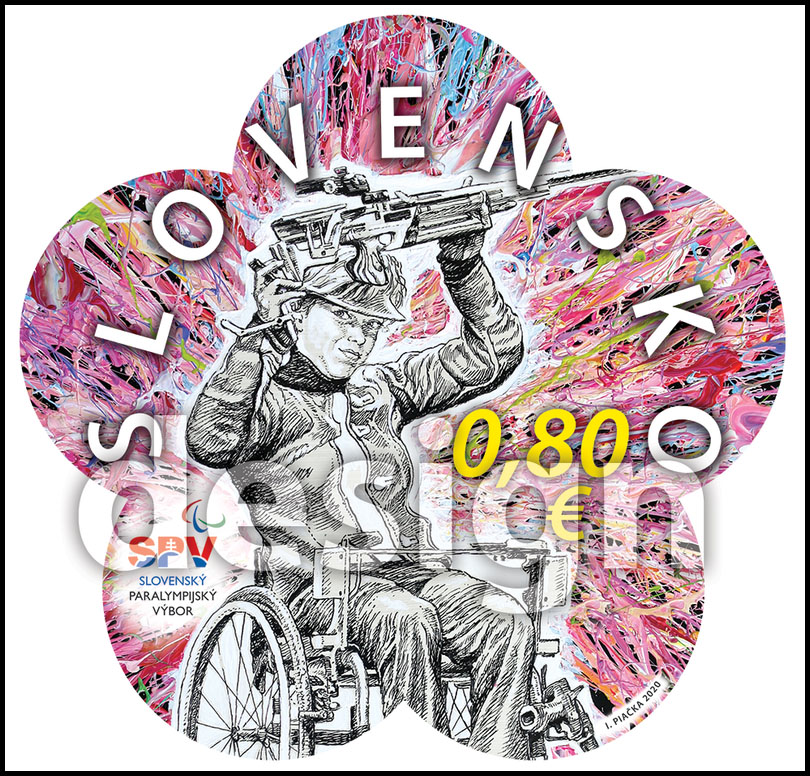 Postage Stamp XVI Summer Paralympic Games Tokyo 2020 - Sports shooter in a wheelchair (Original artwork(s))