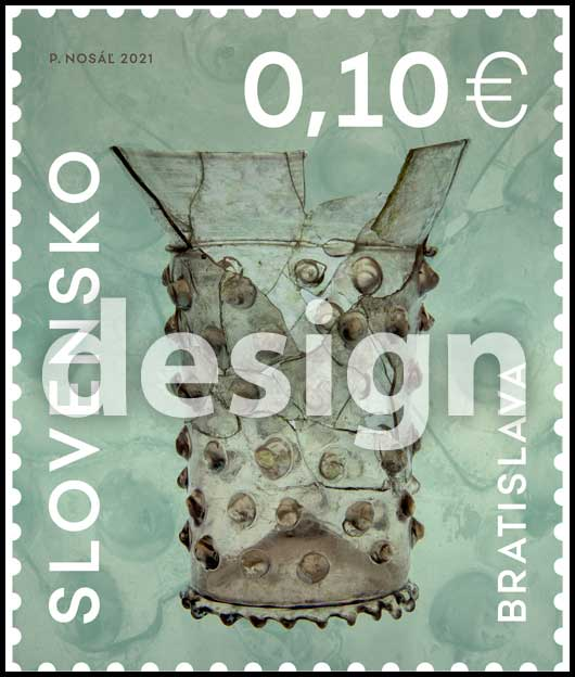 Postage Stamp Applied art in Slovakia: Gothic cup with glued ornaments from Bratislava (Original artwork(s))