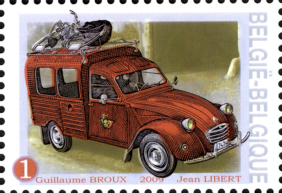 Postal Citroen 2CV from 1950 with bicycle on roof