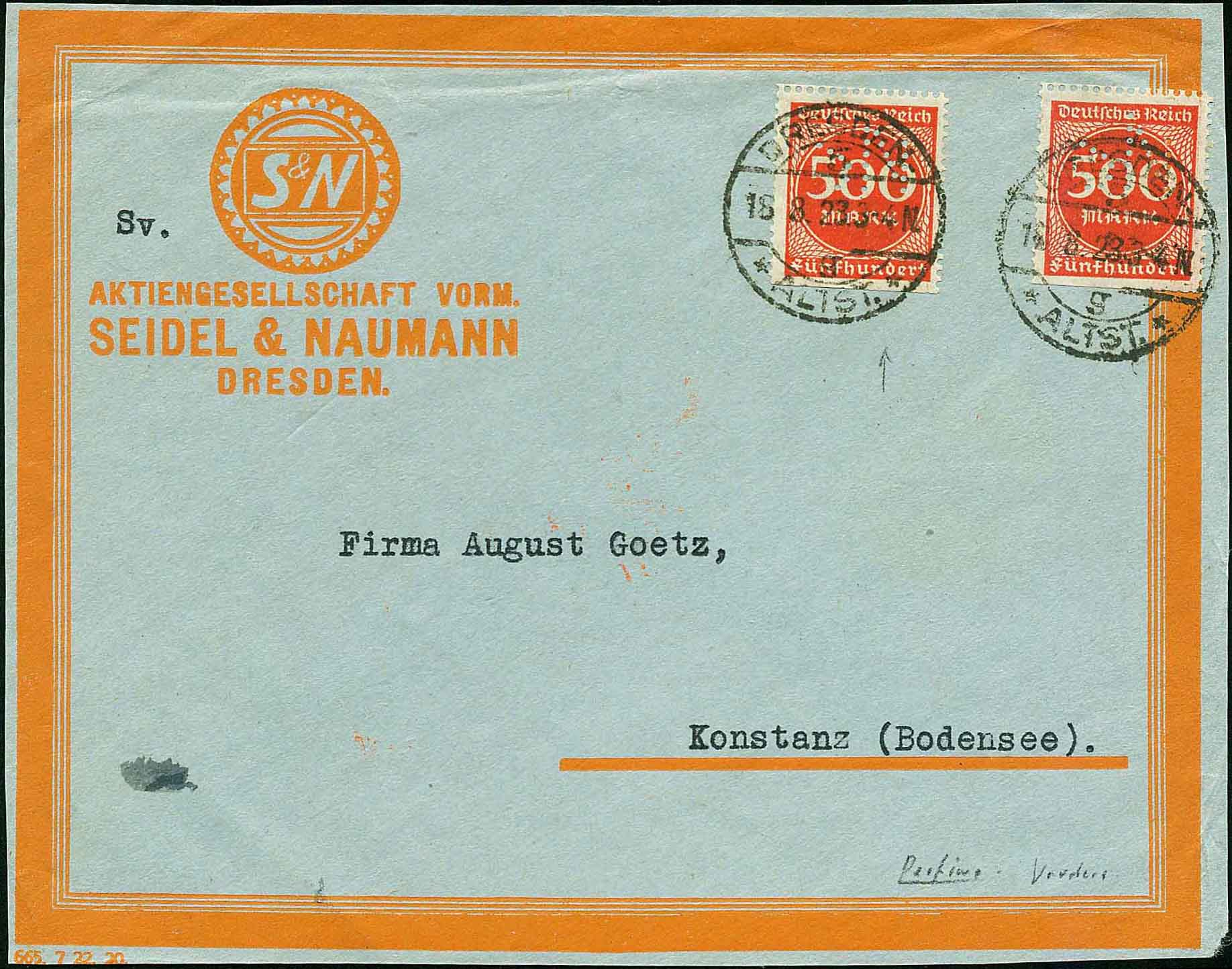 Cover with Seidel & Naumann Bicycle Company Perfin