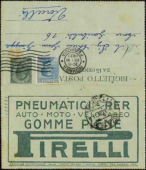 Folding Letter Sheet with Pirelli Tires Advertisements
