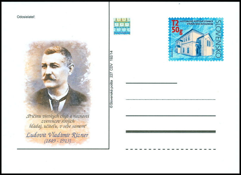 165th anniversary of the birth of Ludovit Vladimir Rizner (Historical postal stations - Straze nad Zvolenom)