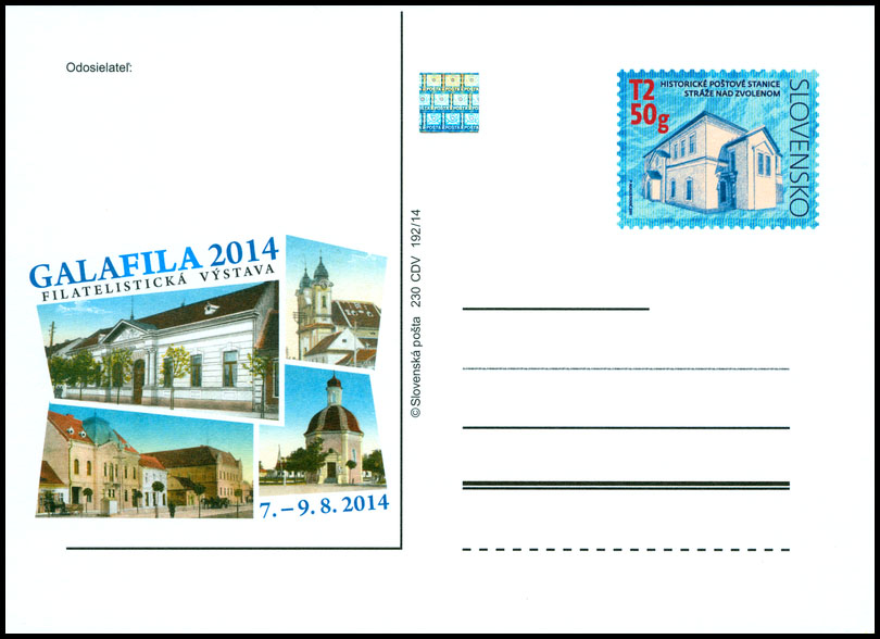 Philatelic exhibition GALAFILA 2014  (Historical postal stations - Straze nad Zvolenom)