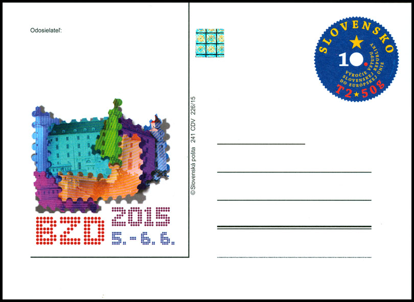 Postal Card with imprint Bratislava Collectors Days 2015