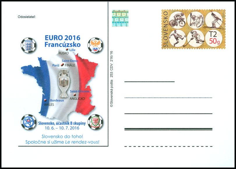 51101609295b6 Poštový lístok s prítlačou Majstrovstvá Európy vo futbale 2016 - www ...