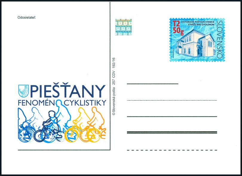 Poštový lístok s prítlačou Piešťany - Fenomén cyklistiky
