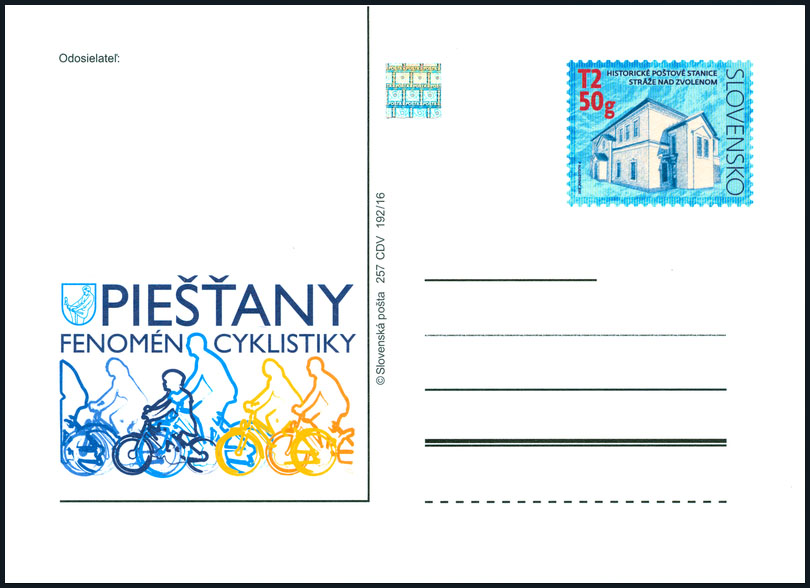 Postal Card with imprint: Pie��any - Cycling Phenomenon