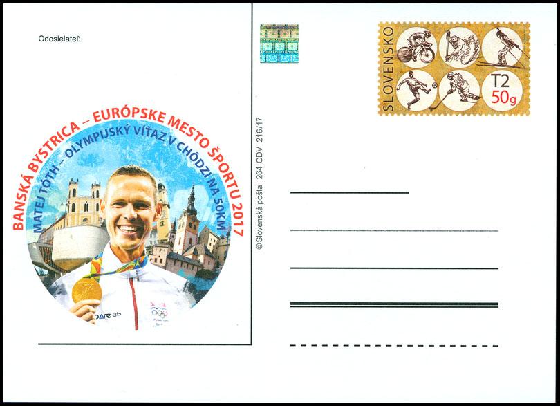 Slovenská pošta, a.s., vydá poštový lístok na propagáciu Banskej Bystrice ako Európskeho mesta športu 2017