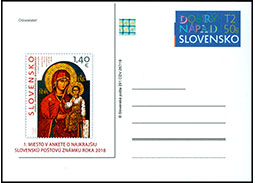 Postal Card with imprint Public poll for the most Beautiful Slovak Stamp of 2018