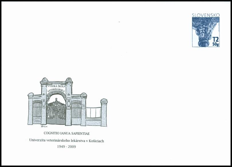 Celinová obálka s prítlačou 60. výročie založenia Univerzity veterinárneho lekárstva v Košiciach 1949 - 2009 (Architektúra predrománskeho a románskeho obdobia)