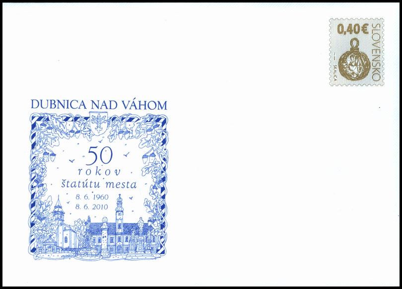 Celinová obálka s prítlačou 50 rokov štatútu mesta Dubnica nad Váhom (Veľkomoravský šperk)