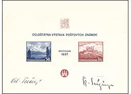 National Postage Stamp Exhibition Bratislava 1937 - Exhibition souvenir sheet