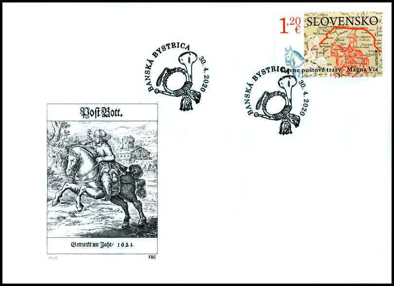 First Day Cover EUROPA 2020: Old postal routes - Magna Via