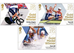 British Royal Mail issued postage stamps of London Olympics winners