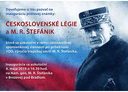 Ceremonial inauguration of the postage stamp Czechoslovak Legions and Milan Rastislav Štefánik
