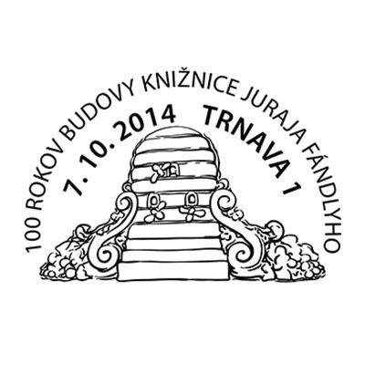Commemorative Postmark 100 years of Juraj Fándly library building in Trnava