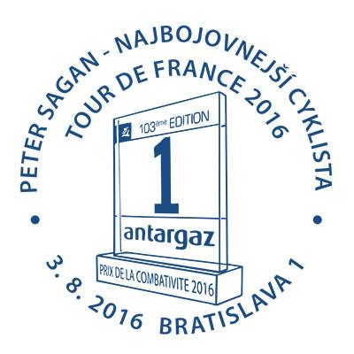 Commemorative postmark: Peter Sagan - najbojovnej�� cyklista Tour de France 2016